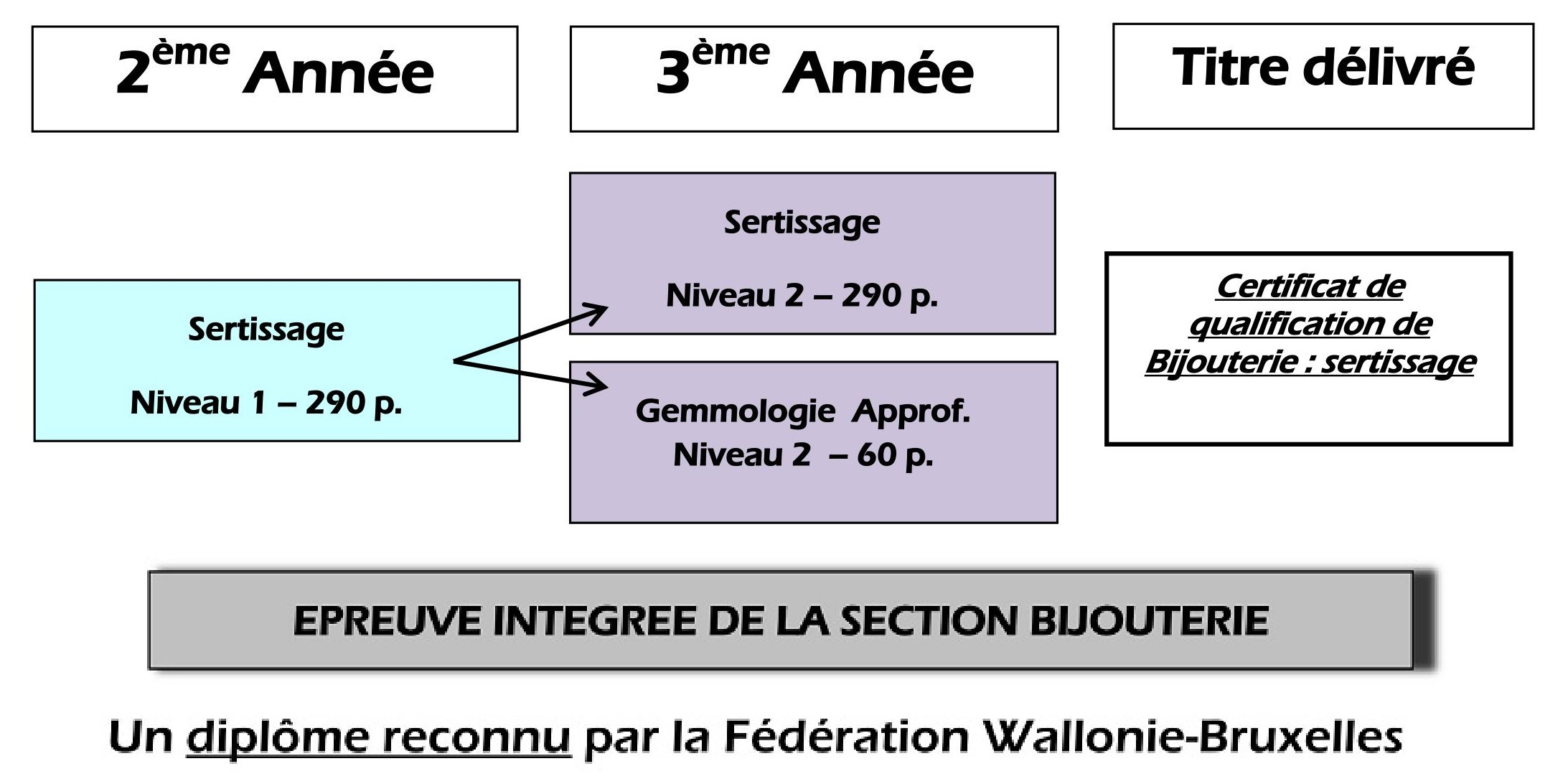 Bijouterie Sertissage – Organigramme de la section